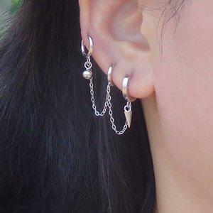925 sterling silver earring design 3 pierced ears Cross star conical chain ear bone ear buckle personality girl boy jewelry
