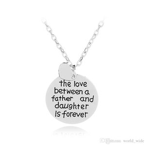 The Love Between a Father And Daughter Is Forever Heart Charms Letter Engraved Round Pendant Necklace Fathers Day Gift