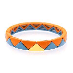 Shinus Bracelets Women Bracelet Enamel Tile Jewelry Mujer Moda 2020 Handmade Gift Stretch String Geometric Triangle Beaded