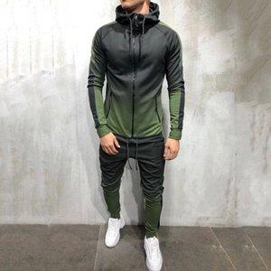 2 Pieces Sweatsuit Men Clothes men's set Casual Hooded Sports Wear Zipper Tracksuit Training Hoodies Jacket Pants Track Suits 3d T200707