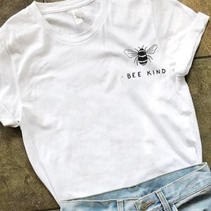 Bee Kind Pocket Print Tshirt Women Tumblr Save The Bees Graphic Tees Women Plus Size T Shirts Cotton O-Neck Tops Drop Shipping CX200530
