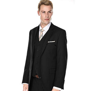 New Design Two Buttons Black Wedding Groom Tuxedos Notch Lapel Groomsmen Mens Dinner Blazer Suits (Jacket+Pants+Vest+Tie) 469