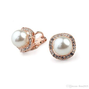 fashion brands design rose gold color plated pearl earing clips without piercing bijoux accessories for Mother's Day