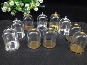 10set / lot - 25 * 38mm tube forme Bell pot transparent connecteur haut plateau de bouteille de bulles de verre - pour les accessoires de bricolage collier trouver