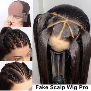13x6 фронта шнурка человеческих волос парики Короткие Поддельные скальп Парик 250 Плотность Straight для черных женщин Предварительно щипковых с волосами младенца