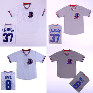 Hot Bull Durham # 8 Crash Davis # 37 Nuke 'LaLoosh Stitched Movie Baseball Jersey GreyEnvío gratis