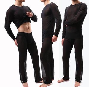 섹시한 남성 관점 파자마 세트 잠옷 편안한 솔리드 라운드 넥 참조 비록 잠옷 남성 홈 두 조각 바지