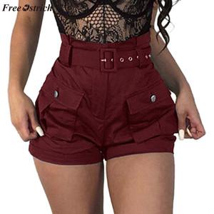 GRATIS OSTRICH Casual wild shorts tendencia de moda de la mujer fit shorts personalidad verano bolsillo ancho herramientas con cinturón