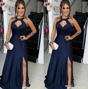 Sexy Long royal blue A Line Prom Dresses Halter Neck Split High Formal Dresses Evening Party Wear elegant cheap evening formal dresses 2020