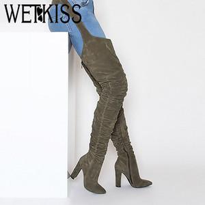 WETKISS Flock Sexy Femelle Mode Leggings Bottes Pantalons Femmes Chaussures Épais Talons Hauts Bottes Boucle Pantalon Femme 2019 Nouveau