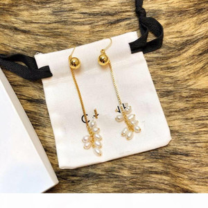 Vintage Luxury Copper Gold Long Chain 7 Round White Pearl Tassel Charm Drop Earrings For Women Jewelry