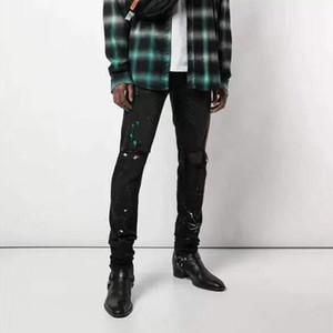Trend 19FW New Splashing Ink Hole Black Jean Pants Sweatpants Highstreet Hip Hop Pants Young Casual Denim Trousers HFLSKZ139