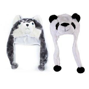 Cartoon Animal Husky Wolf Fluffy Plush Hat Cap Scarf Earmuff Adult Kids Women Girl & Childrens Animal Hat with Scarf Faux Fur Ki