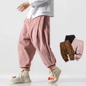Mens Corduroy Harem 2020 autunno stile cinese pantaloni da uomo solido nero pantaloni della tuta maschile pantaloni allentati