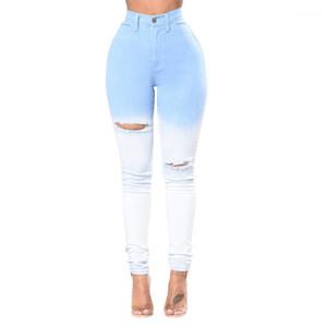 Fit-Bleistift-Hosen Frauen Gefärbte Jeans Blau Weiß Patchwork Löcher Skinny Slim