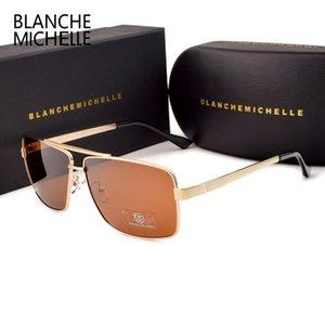 Blanche 미셸 2019 편광 선글라스 남성 브랜드 UV400 태양 안경 운전 남성 고품질 사각형 ocolos 상자 Y200420