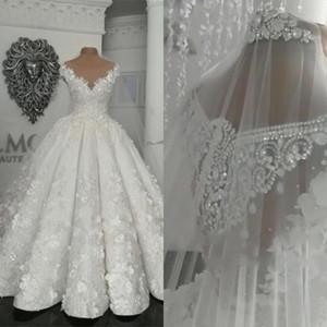 Abiti da sposa vintage arabi di Dubai Perline applique floreali 3D trasparenti Abito da sposa taglie forti Abito da ballo principessa Vestido De Novia