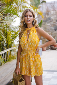 Fashion women's jumpsuit summer new design women's hanging neck polka dot women's jumpsuit hot sale size S-XL-02