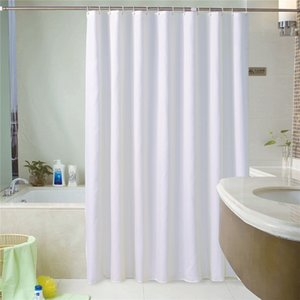 Waterproof White Shower Curtain Set With 12 Hooks Geometric Solid Bathroom Curtains Polyester Fabric Bath Curtain for Home Hotel