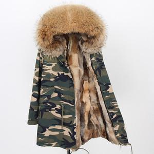 Низкая цена Maomaokong Марка коричневый енот меховой отделкой холодной устойчивостью женщин пальто коричневый дикий кролик меховая подкладка камуфляж оболочки длинные парки