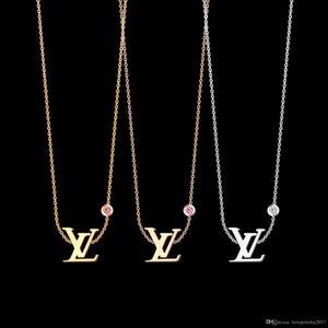 Luxus-Schmuck-Silber Rose Gold Logo V-Anhänger Designer Halskette 18K Gold aus rostfreier dünnen Kette einzelnen Diamanten Frauen Halskette