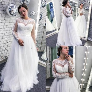 2020 Sheer Neck Long Sleeve White Wedding Dresses Sweep Train Appliques Illusion Garden Country Bridal Gowns vestidos de novia Plus Size