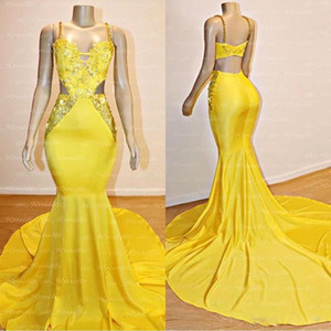 Sexy Yellow Spaghrtti Open Back Prom Dresses 2020 Lace Appliqued Crystal Beaded Evening Gown Long Formal Party Gown BC3999