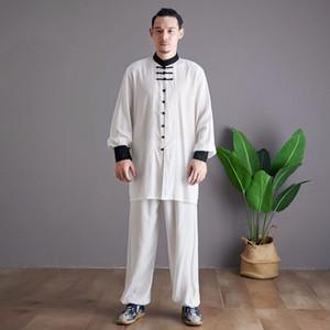 Erkekler Çince Style Tang Suits Setleri Gömlek Modelleri Pant Tai Chi Giyim Erkek Gevşek Casual Standı Yaka Gömlek Spor Pantolon