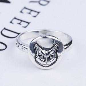 s925 testa d-argento cat epoca anello anello faccia sterling silver classico gatto stile britannico hip-hop anello maschile e femminile in argento Thai
