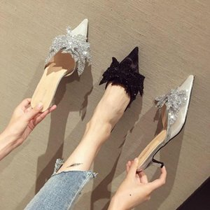 Pointed-toe sandals and slippers, summer sequins, bows, fine heels, mules, nets, toe caps, half slippers women