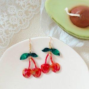 ZiccoWong New Fashion Red Cherry Drop Earring Acrylic Sweet Fruit Long Dangle Earring for Women Lady Gift Jewelry Accessories