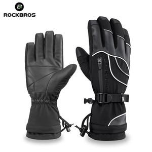 ROCKBROS Luvas Esqui térmica impermeáveis Luvas Warmer snowboard Snowmobile Motorcycle Windproof mãos Usar Passeio pedestre Glove