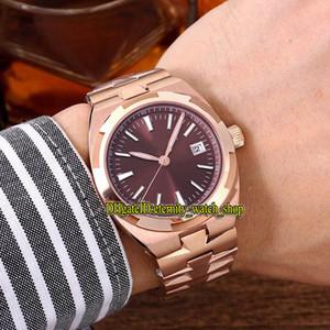 Melhor versão Overseas 4500V 110A-B146 Asian 2836 Revisa 5100 Coffee Automatic Data Dial Mens Watch Rose Caso Ouro Correia Desporto Relógios de aço