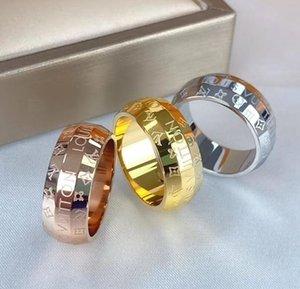 Hot Sale design anneaux en acier inoxydable luxe plaqué or 18k Lovers Anneaux Hommes Femmes Bague anneaux plaqué LOUIS VUITTON Bijoux L