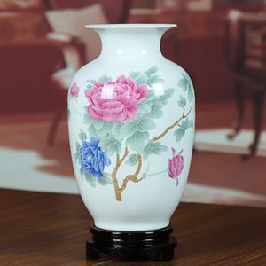 Jingdezhen Vaso in ceramica Modern Home Furnishing Room Decoration Bone China Glaze modello peonia in stile cinese Ornamenti vaso