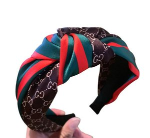 Satin sitiching headband headwear Korean hair supplies net red letters red and green strip knotted wide card b26