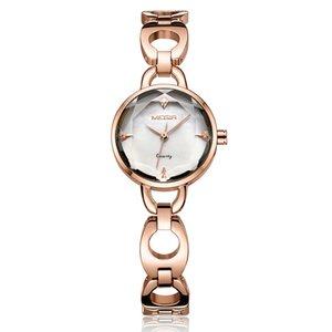 MEGIR 2020 Watch Women Gold Vintage Luxury Clock Women Bracelet Watch Ladies Stainless Steel With Rhinestones