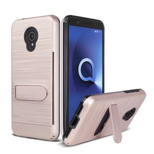 Para Alcatel 1X Evoluir LG G7 Samsung Galaxy A6 2018 Metropcs Escovado Metal Armadura Híbrido Kickstand Caso Slot Para Cartão de Oppbag