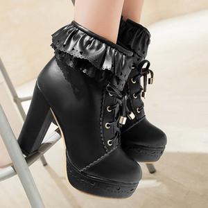 Chaussures Hot talon haut-vente femmes automne hiver chaud bottes imperméables cheville de femmes 2019 nouvelles chaussures belles dames femme Botas mujer # 4Z