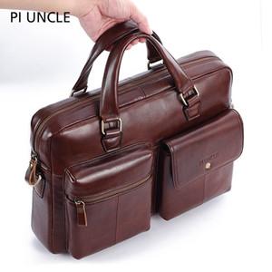 PIUNCLE Genuine Leather Vintage Valigetta Messenger Borse 14inch spalla del computer portatile di grande capienza Big Bag Handbag Soft Lether