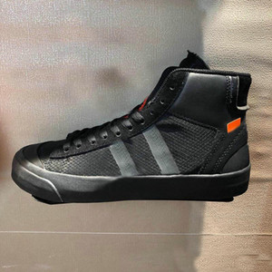 2019 OFF-White x Nike Blazer The Ten New Release Blazer Mid All Hallows Eve Grim Reepers Sneakers Pale Vanilla Schwarz-Total Orange Hohe Qualität 10X Sport Laufen