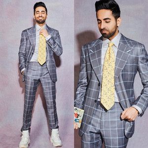 Grey Damier Check Slim Fit Mens Prom Suits Peaked Lapel Wedding Suits For Men Tuxedos Two Pieces Blazers Jacket+Pants