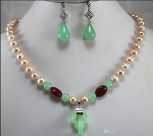 jewelry Fashion 8mm Mixed Color Pearl Necklace Earring Double Rings Jewelry Set