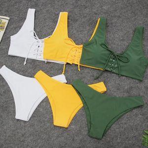 Women's Two Piece Solid Baddage Sexy Split Swimsuit Bikini Swimsuit Beachwear Women Plus Size Two-Piece Suit C30618 Ukwpv