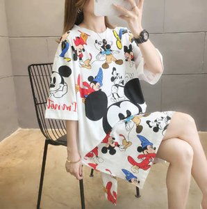 2020 Summer New Arrival Women T-shirts Loose Breathable Plus Size Summer Cloths Fashion Carton Style Mouse Print Womens Clothing