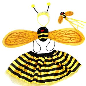 4 Piece Sets Halloween Christmas Bee Costumes for Kids Girls Cute Party Fancy Dress Cosplay Wings+Tutu Skirts Yellow Red