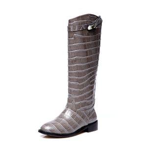 2020 Outono/Inverno Ke Knight Boots H High B Flat s Women's Straight Leather Horse designer platform espadrilles rems women