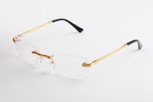 Limpar Lens óculos sem aro Metal Frame Sunglasses Retângulo Óculos Vários escolha para Man Unisex Alta Qualidade com caso e Box