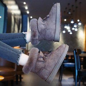 SWYIVY Flock Frauen-Winter-Schuhe Casual Falt Ankle Boots für Frauen 2019 Fest Warm Plüsch-Schnee-Stiefel Frau Beleg auf Gummischuhe