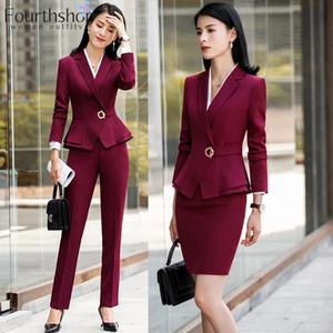 Kadın Takım Elbise Blazers 2021 Moda Resmi Pantolon Kadınlar Için Ofis Çalışma 2 Parça Pantolon Blazer Set Iş Pantolon Ceket Takım Elbise Kadın Sonbahar